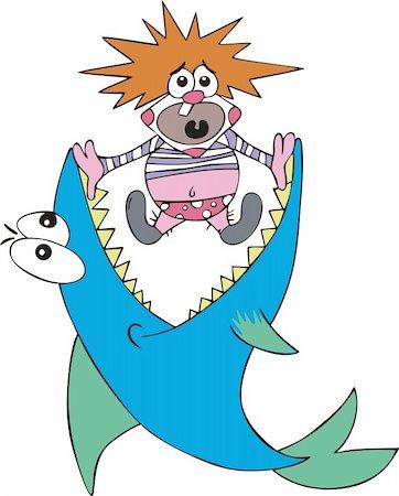 piranha fish - Big fish caught small clown. Color vector illustration. Stock Photo - Budget Royalty-Free & Subscription, Code: 400-06200072