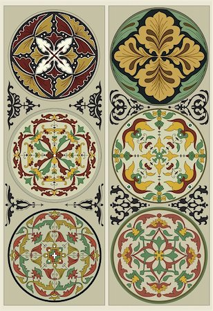 Traditional Russian pattern, enclosed in a circle and Four black vignette. Stock Photo - Budget Royalty-Free & Subscription, Code: 400-06200329