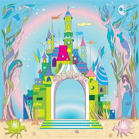 scalable - fairy tale castle under the sea, hand drawn composition with mermaids and fishes Stock Photo - Budget Royalty-Free & Subscription, Code: 400-06200586