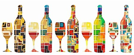 Abstract mosaic editable vector designs of wine bottles and glasses Stock Photo - Budget Royalty-Free & Subscription, Code: 400-06200830