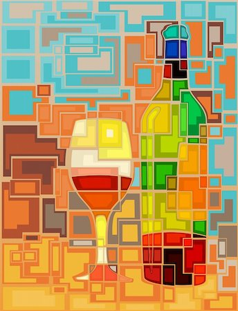 Abstract mosaic editable vector illustration of a wine bottle and glass Stock Photo - Budget Royalty-Free & Subscription, Code: 400-06200832
