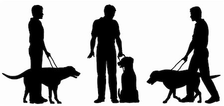 Editable vector silhouettes of a blind man and his guide dog with each man and dog as a separate object Stock Photo - Budget Royalty-Free & Subscription, Code: 400-06201671