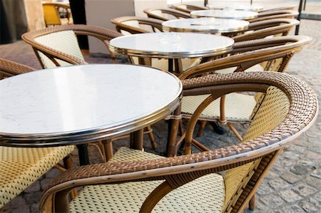 Empty coffee terrace in paris,France Stock Photo - Budget Royalty-Free & Subscription, Code: 400-06201796