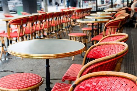 Empty coffee terrace in paris,France Stock Photo - Budget Royalty-Free & Subscription, Code: 400-06201797
