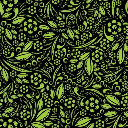 pzromashka (artist) - Seamless vector wallpaper. Green vegetation repeating pattern on a black background Stock Photo - Budget Royalty-Free & Subscription, Code: 400-06202080