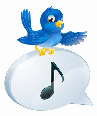 Illustration of a cute bluebird standing musical note speech bubble and singing or tweeting Stock Photo - Budget Royalty-Free & Subscription, Code: 400-06202842