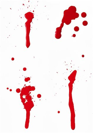 dripping blood - A composite of 4 wet red paint (blood) stains isolated on white. Stock Photo - Budget Royalty-Free & Subscription, Code: 400-06203274