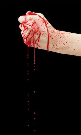 dripping splat - A bloody hand making a fist with blood dripping down isolated on black. Stock Photo - Budget Royalty-Free & Subscription, Code: 400-06203276