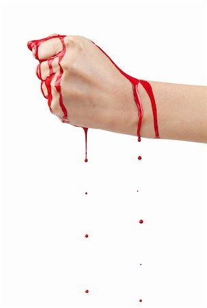 A bloody hand making a fist with blood dripping down isolated on white. Stock Photo - Budget Royalty-Free & Subscription, Code: 400-06203277