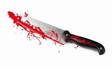 A blood covered knife isolated on white. Stock Photo - Budget Royalty-Free & Subscription, Code: 400-06203300
