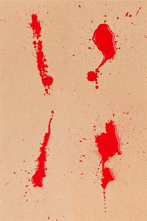 simsearch:400-04454583,k - Composite of 4 red/blood stains and spatter on brown cardboard. Stock Photo - Budget Royalty-Free & Subscription, Code: 400-06203301