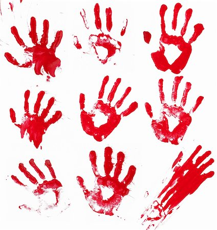 A composite of 9 bloody hand prints isolated on white. Stock Photo - Budget Royalty-Free & Subscription, Code: 400-06203336