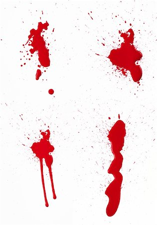 dripping blood - A composite of 4 wet red paint (blood) stains isolated on white. Stock Photo - Budget Royalty-Free & Subscription, Code: 400-06203337