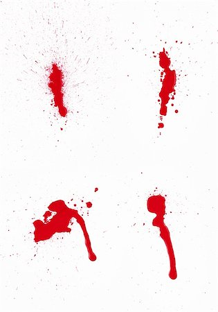 dripping blood - A composite of 4 wet red paint (blood) stains isolated on white. Stock Photo - Budget Royalty-Free & Subscription, Code: 400-06203338