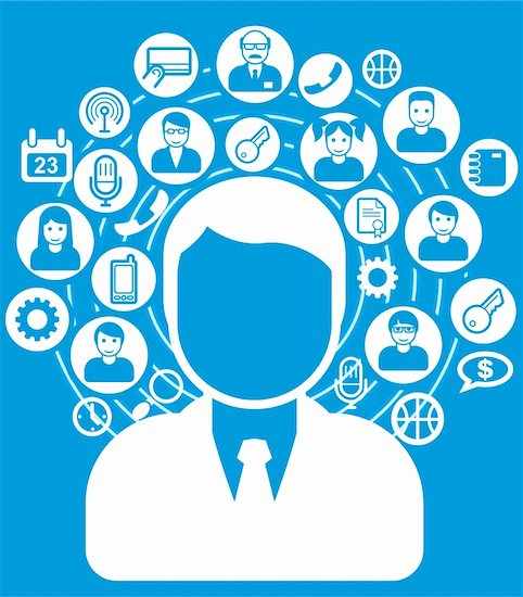 Social network and connections concept icons and avatars Stock Photo - Royalty-Free, Artist: lazarev, Image code: 400-06203687