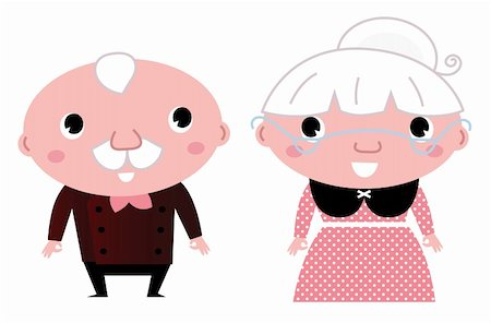 Grandmother and Grandfather. Vector cartoon Illustration Stock Photo - Budget Royalty-Free & Subscription, Code: 400-06325610