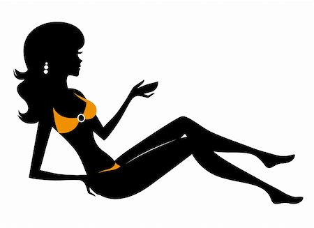 simsearch:400-04096935,k - Woman in bikini silhouette. Vector Illustration Stock Photo - Budget Royalty-Free & Subscription, Code: 400-06325613