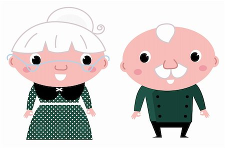 Grandparents - standing stylized seniors. Vector cartoon Stock Photo - Budget Royalty-Free & Subscription, Code: 400-06325656