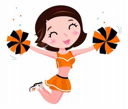 Cute jumping cheerleader woman. Vector Stock Photo - Budget Royalty-Free & Subscription, Code: 400-06325691