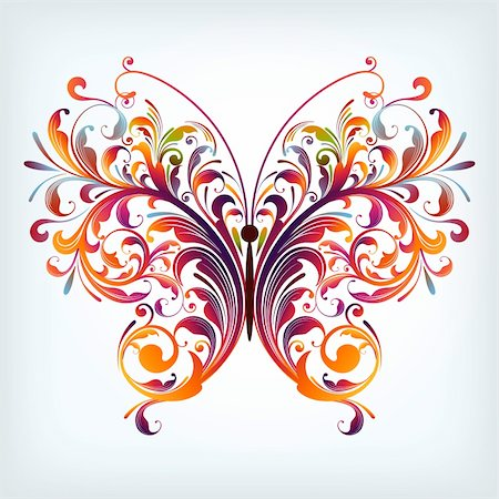 illustration drawing of abstract butterfly Stock Photo - Budget Royalty-Free & Subscription, Code: 400-06325942