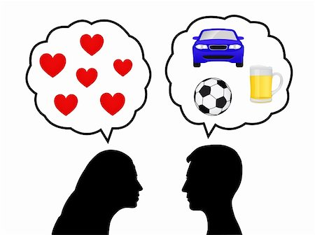 Silhouettes of a young woman thinking of love and a young man thinking of cars, drink and soccer Stock Photo - Budget Royalty-Free & Subscription, Code: 400-06325968