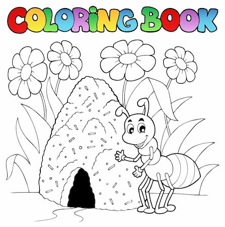 flower clipart paint - Coloring book ant near anthill - vector illustration. Stock Photo - Budget Royalty-Free & Subscription, Code: 400-06326508