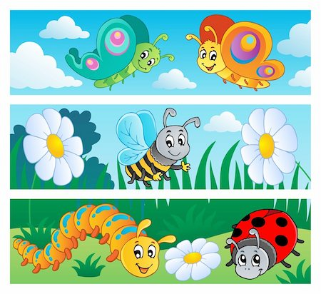 Bugs banners collection 1 - vector illustration. Stock Photo - Budget Royalty-Free & Subscription, Code: 400-06326502
