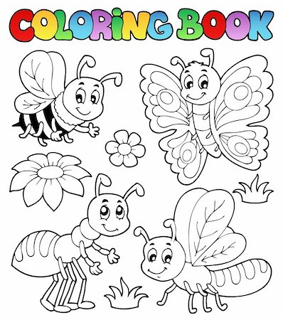 flower clipart paint - Coloring book cute bugs 2 - vector illustration. Stock Photo - Budget Royalty-Free & Subscription, Code: 400-06326514