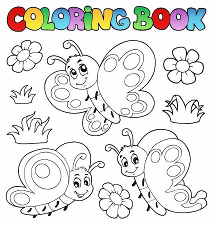 Coloring book with butterflies 2 - vector illustration. Stock Photo - Budget Royalty-Free & Subscription, Code: 400-06326515