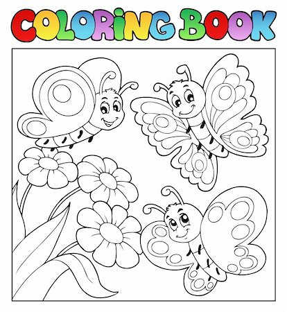 Coloring book with butterflies 3 - vector illustration. Stock Photo - Budget Royalty-Free & Subscription, Code: 400-06326516