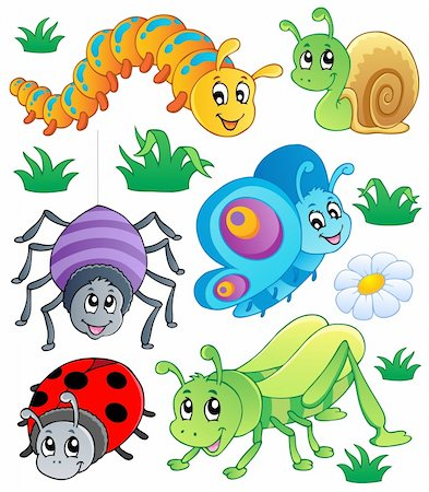 Cute bugs collection 1 - vector illustration. Stock Photo - Budget Royalty-Free & Subscription, Code: 400-06326517