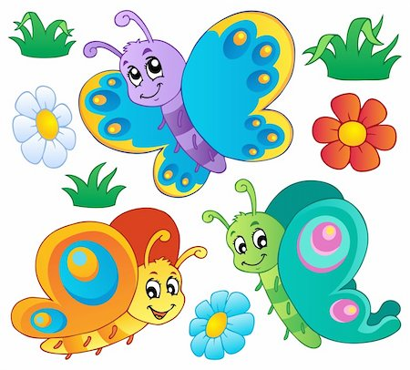 Cute butterflies collection 3 - vector illustration. Stock Photo - Budget Royalty-Free & Subscription, Code: 400-06326519