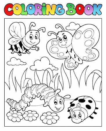 flower clipart paint - Coloring book bugs theme image 2 - vector illustration. Stock Photo - Budget Royalty-Free & Subscription, Code: 400-06326510