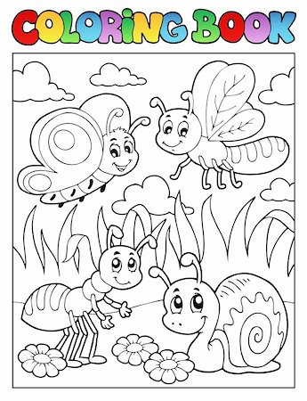 flower clipart paint - Coloring book bugs theme image 3 - vector illustration. Stock Photo - Budget Royalty-Free & Subscription, Code: 400-06326511