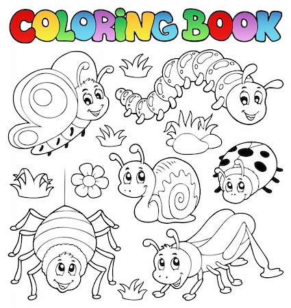 Coloring book cute bugs 1 - vector illustration. Stock Photo - Budget Royalty-Free & Subscription, Code: 400-06326513