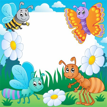 Frame with bugs theme 3 - vector illustration. Stock Photo - Budget Royalty-Free & Subscription, Code: 400-06326522