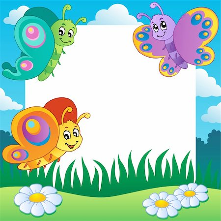 Frame with butterflies theme 1 - vector illustration. Stock Photo - Budget Royalty-Free & Subscription, Code: 400-06326523