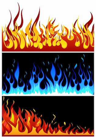 Set of fire vector backgrounds with tongue of flame Stock Photo - Budget Royalty-Free & Subscription, Code: 400-06326598
