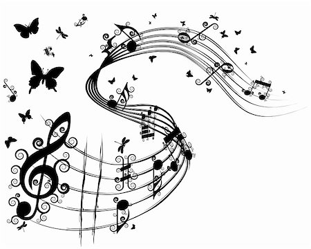 Vector musical notes staff background for design use Stock Photo - Budget Royalty-Free & Subscription, Code: 400-06326601