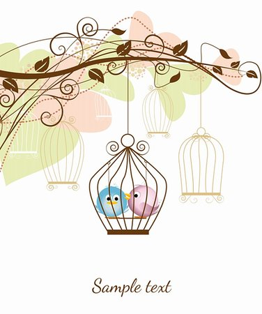 decorative branches with a birds in a cage Stock Photo - Budget Royalty-Free & Subscription, Code: 400-06326638