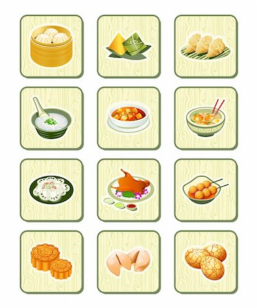 dumplings steamer - Colorful realistic chinese food icons over bamboo buttons Stock Photo - Budget Royalty-Free & Subscription, Code: 400-06326761