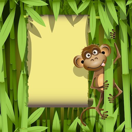 illustration, a brown monkey in the jungle Stock Photo - Budget Royalty-Free & Subscription, Code: 400-06326891