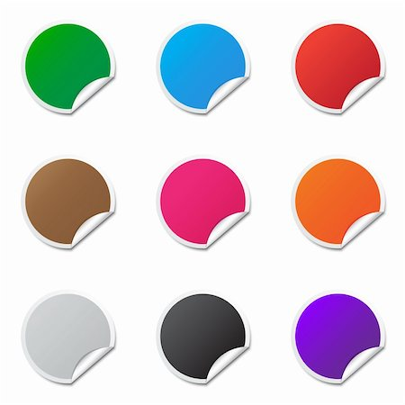 Collection of blank round labels in various colors Stock Photo - Budget Royalty-Free & Subscription, Code: 400-06326927