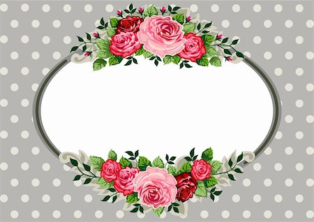 Retro roses oval frame and ornaments with space for your text or design on polka dot grey background. Vector illustration Stock Photo - Budget Royalty-Free & Subscription, Code: 400-06327029