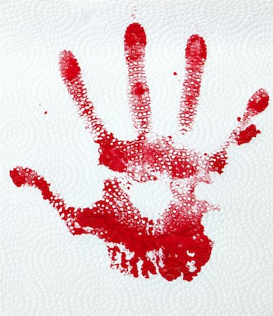 A red hand print on textured paper towlel. Stock Photo - Budget Royalty-Free & Subscription, Code: 400-06328032