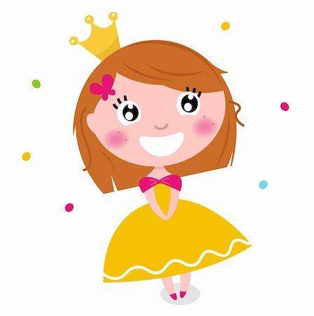 Little cute happy princess. Vector cartoon Illustration Stock Photo - Budget Royalty-Free & Subscription, Code: 400-06329575