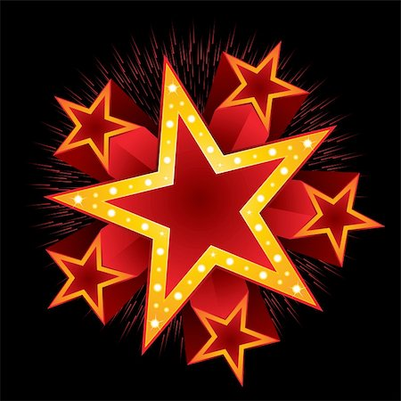 fireworks illustrations - Shooting stars with fireworks around big neon Stock Photo - Budget Royalty-Free & Subscription, Code: 400-06330253