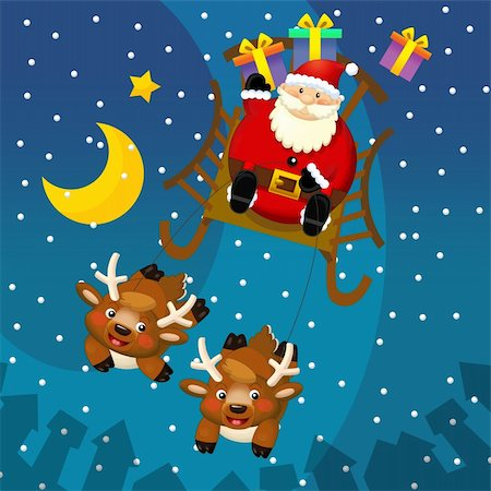 The happy christmas illustration for the children Stock Photo - Budget Royalty-Free & Subscription, Code: 400-06331510