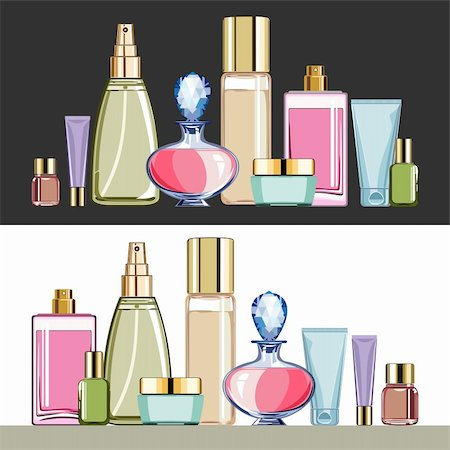 elakwasniewski (artist) - Set of cosmetics packaging, bottles and containers for beauty care, on white or dark background, objects are grouped, no gradient, vector illustration Stock Photo - Budget Royalty-Free & Subscription, Code: 400-06332429