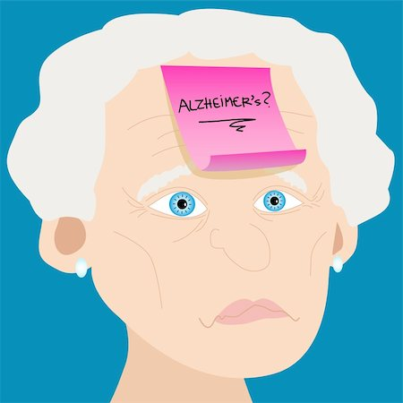 Memory loss or mental illness concept: cartoon of senior woman with sad face and pink sticky note with alzheimer's and question mark handwritten placed on forehead Stock Photo - Budget Royalty-Free & Subscription, Code: 400-06355413